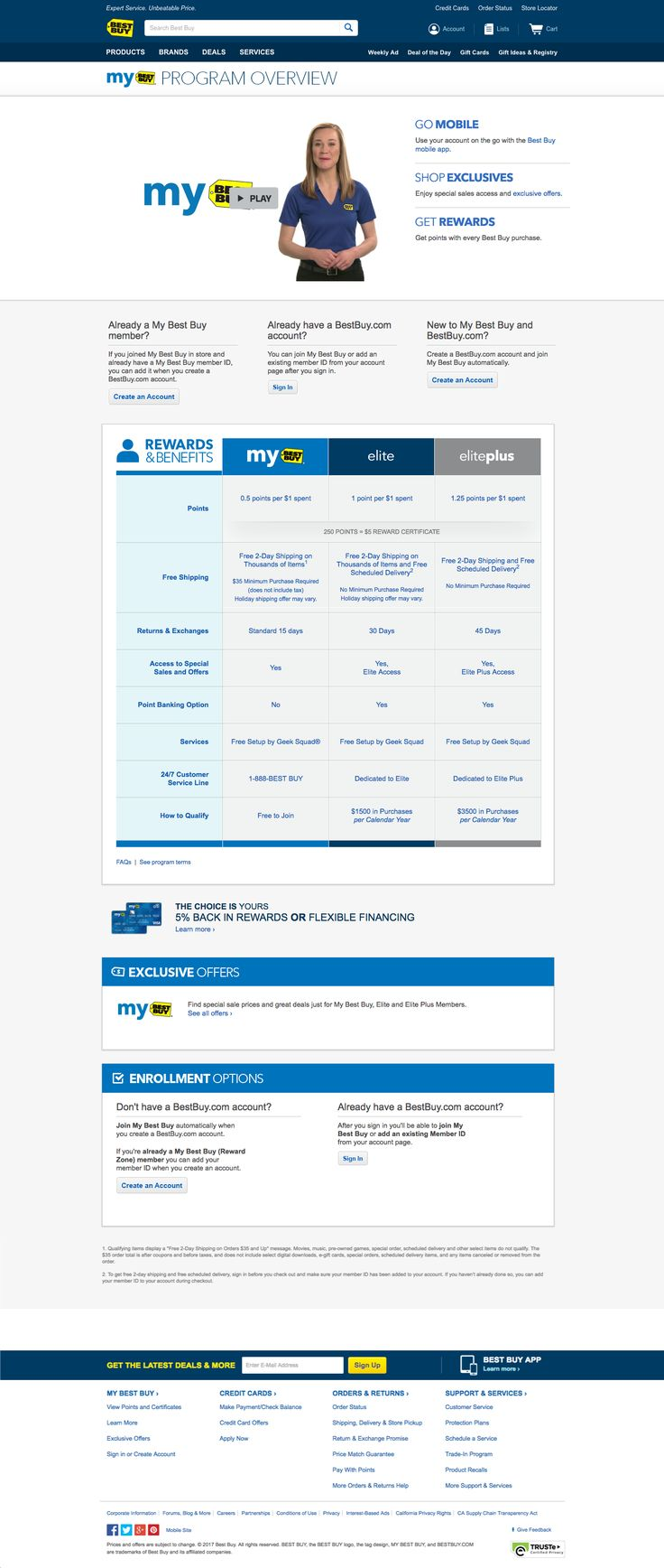 Best Buy combines video and clean tables to communicate the benefits of their tiered my best buy program.