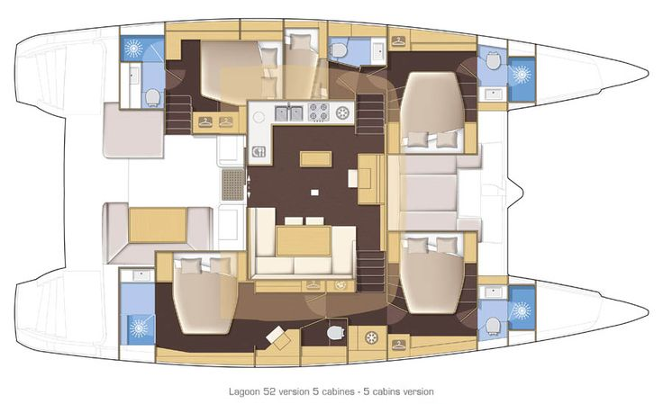 Lagoon 52  5 cabins   A dream come true for large families, while still keeping the owner's suite and a large guest cabin