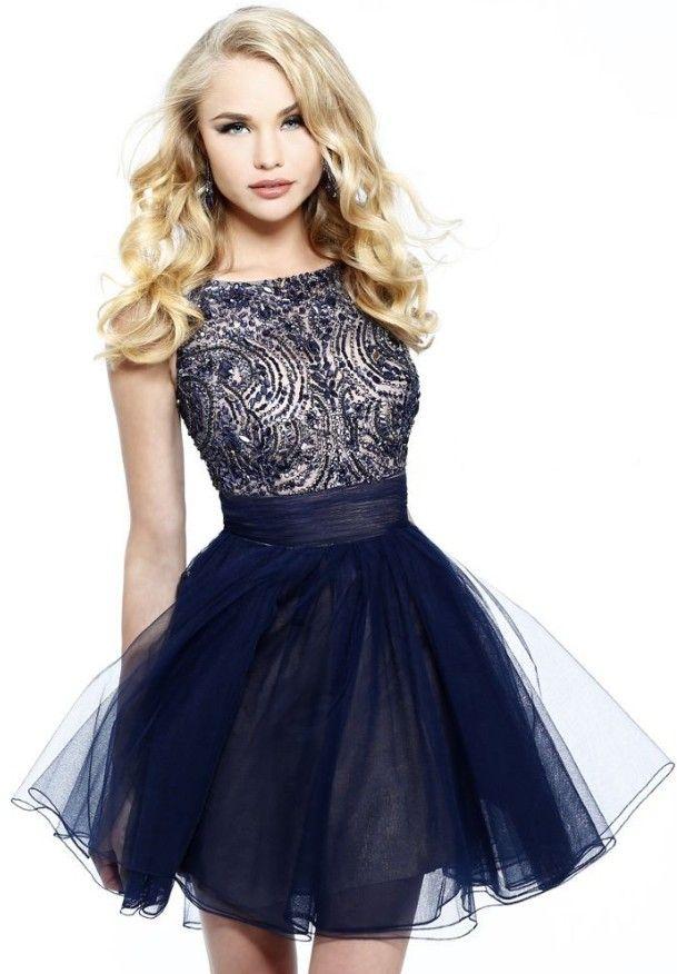 vestidos de graduación corto azul