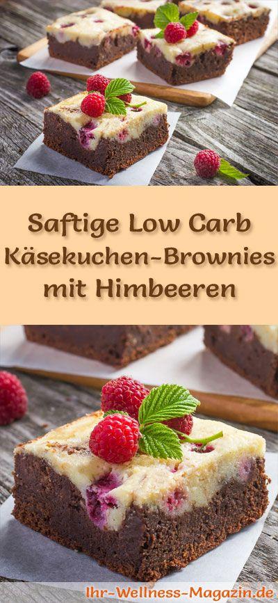 Rezept für Low Carb saftige Käsekuchen-Brownies mit Himbeeren: Der kohlenhydratarme Kuchen wird ohne Zucker und Getreidemehl gebacken. Er ist kalorienreduziert, ...