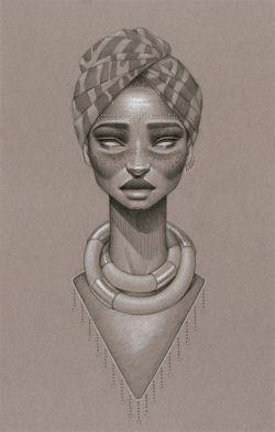 drawing Illustration art soul portrait African Black beauty natural hair fine arts afrofuturism Afro hair african art Portrait Art Sara Golish