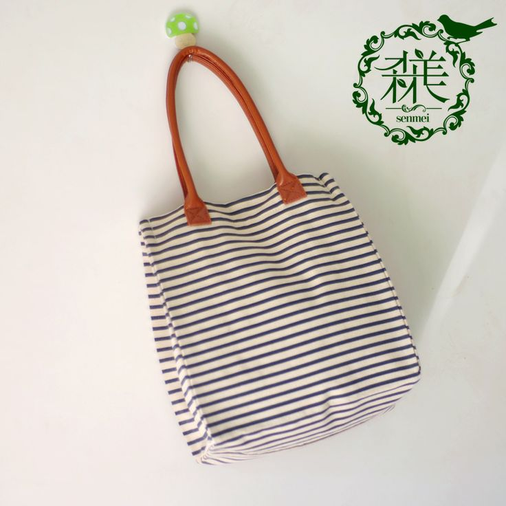 Navy style canvas bag one shoulder big bag stripe bag fluid women's handbag small fresh bags