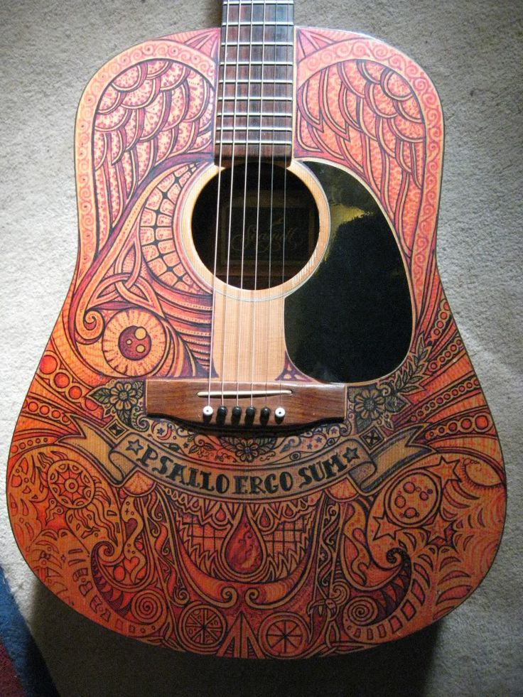 184 best images about hand painted guitars ukuleles and for Acoustic guitar decoration ideas