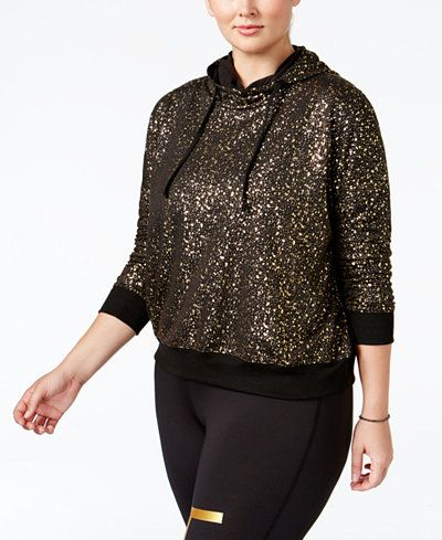 Material Girl Active Plus Size Metallic Hoodie, Only at Macy's