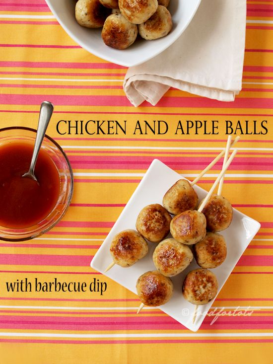 These chicken & apple balls make great party food for both kids and adults. Just serve them on plate or thread them on skewer to impress your guests. Don't forget the barbecue dip!