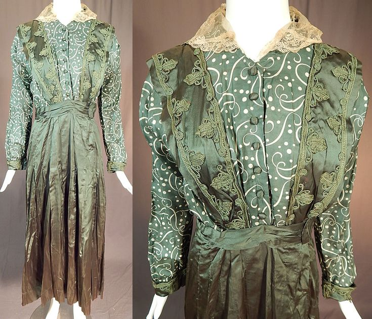 Edwardian Titanic Olive Green Silk Polka Dot Print Soutache Trim Pinafore Dress This vintage Edwardian Titanic era olive green silk polka dot print soutache trim pinafore dress dates from 1912. It is made of a green and white silk fabric with a polka dot scrolling print top and olive green color fine silk fabric overlay, skirt. There is green silk soutache braided trim accents on the top. This gorgeous green dress has a layered pinafore apron style overdress top, with an added cream lace…