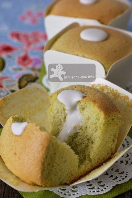Hokkaido Pandan Chiffon Cupcakes with Coconut Cream 北海道班兰牛奶蛋糕