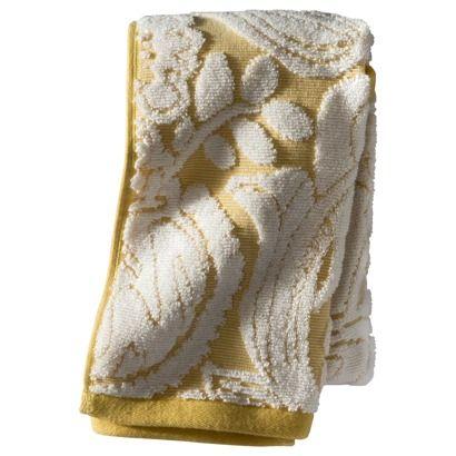 threshold floral bath towel yellow towels hand. Black Bedroom Furniture Sets. Home Design Ideas