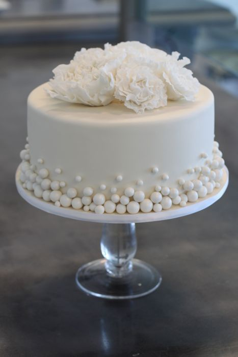 Fondant Cakes « Sweet  Saucy Shop. Love the multiple sized pearls... Would be cool done in colors also.