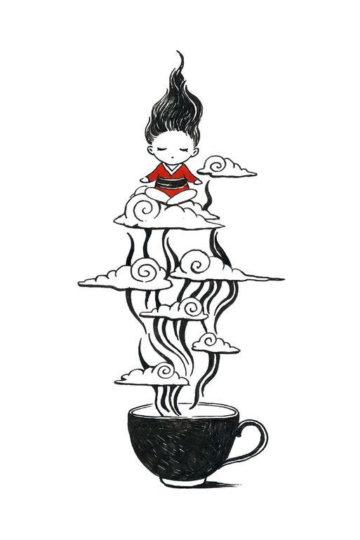 """Saatchi Art Artist: Indrė Bankauskaitė; Pen and Ink Drawing """"Zen Tea"""""""