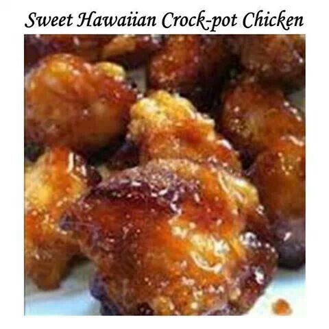 Sweet Hawaiian Crock Pot Chicken 1 cup pineapple juice 1/2 cup brown sugar 1/3 cup light soy sauce 2 lbs boneless, skinless chicken Cut chicken into bitesize pieces. Add all ingredients to crock pot and mix. Cook on low for 6 to 8 hours.