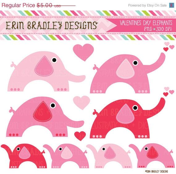 Pink Elephants Clipart Valentines Day Clip Art Love | Etsy ...