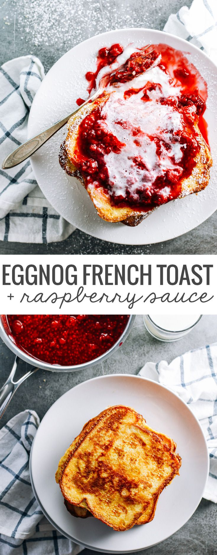 This Eggnog French Toast with Raspberry Sauce is absolutely stunning and takes just 20 minutes to make. Win!