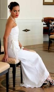 Gorgeous Beaded and Silk White Gown