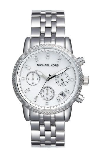 Michael Kors 'White Mother of Pearl' Chronograph Watch available at #Nordstrom