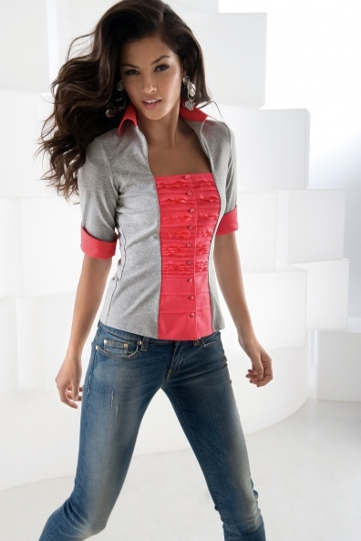 Polo shirt refashion maybe? hmmm....this looks like a good way to keep a cleavage private.
