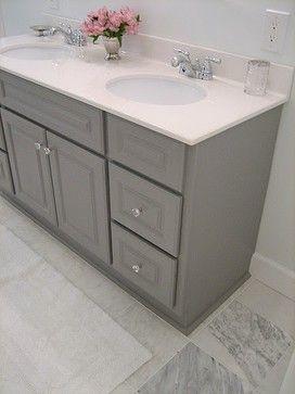 Benjamin Moore Sterling color on vanity--Spruce up the builder grade vanity for cheap.