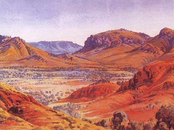Near Palm Valley, West Macdonnell Ranges, Central Australia, Northern Territory - Albert Namatjira 1902 - 1959 - Google Search