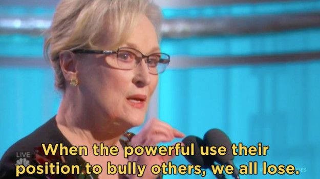 She gave a powerful speech in which she criticized President-elect Donald Trump and called for action from her peers and the press. | Here's How The Celebrity Audience Reacted To Meryl Streep's Golden Globes Speech