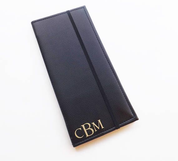 ◘Keep your tracts neat and wrinkle free with this black faux leather tract holder! ◘Ideal gift for new publisher or pioneer and baptism. ◘Can be personalized in gold letters and monogram will be placed in the fronts lower left corner. (Letters are not embroidered....theyre made of