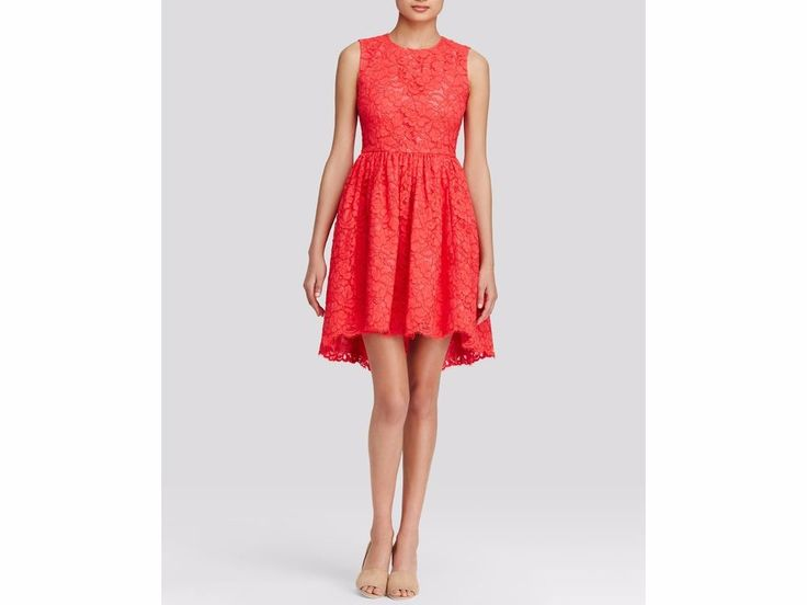 WT Kate Spade New York Lace Cutout Back High/Low Hem Dress – Geranium – Size 4