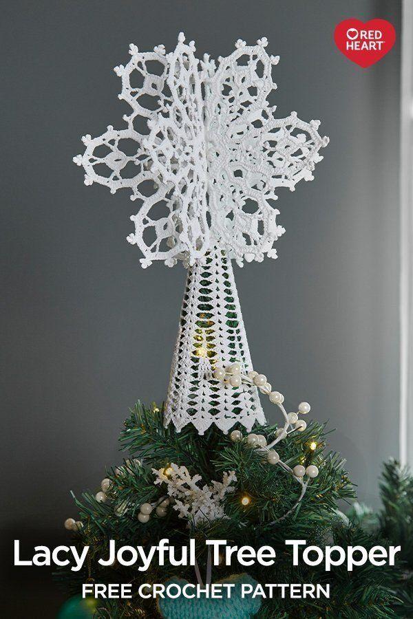 Lacy Joyful Tree Topper Free Crochet Pattern In Aunt Lydia S Size 1 Christmas Tree Topper Pattern Crochet Christmas Trees Christmas Tree Topper Crochet Pattern