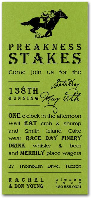 Preakness Stakes Shimmery Green Party Invitations, Kentucky Derby Party Invitations