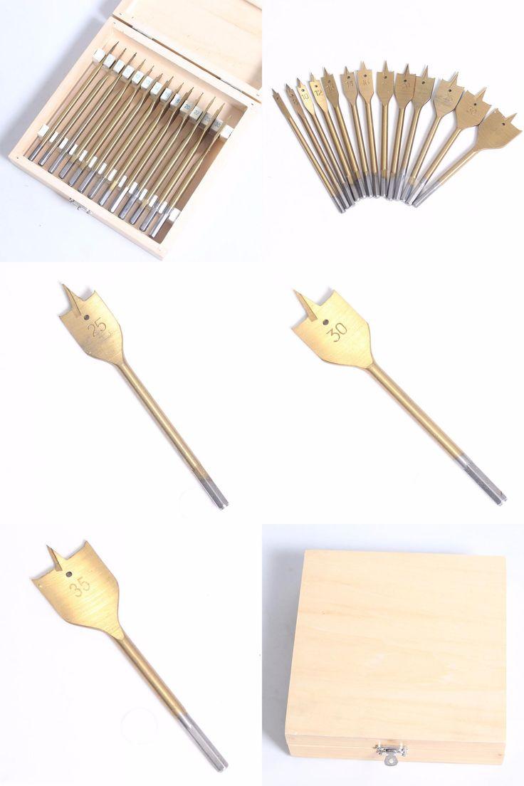 "[Visit to Buy] 13 pcs/set Flat Spade Drill Bits Set Titanium Coating Wood Boring Bit 1/4"" Hex Shank Woodworking Power Tool Accessories #Advertisement"