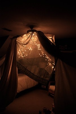 Blanket fort with FIREFLIES