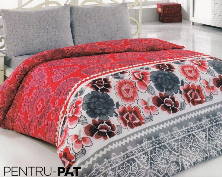 Set cuvertura pat pentru o persoana Anatolia grey & red