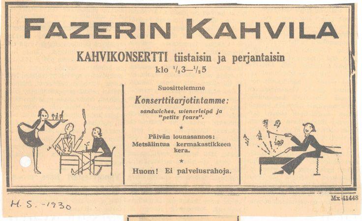 Vanha mainos - Fazerin kahvilan kahvikonsertti #KarlFazer #history