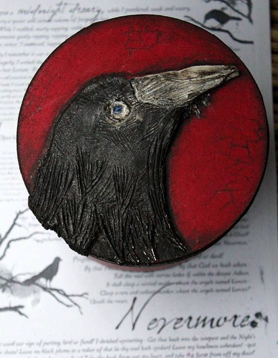 The Raven, Nevermore, Edgar Allan Poe, Poetry, Mystery, Make Believer, Black Raven, Round box, Black and red, Horror, Unisex, Unique gift