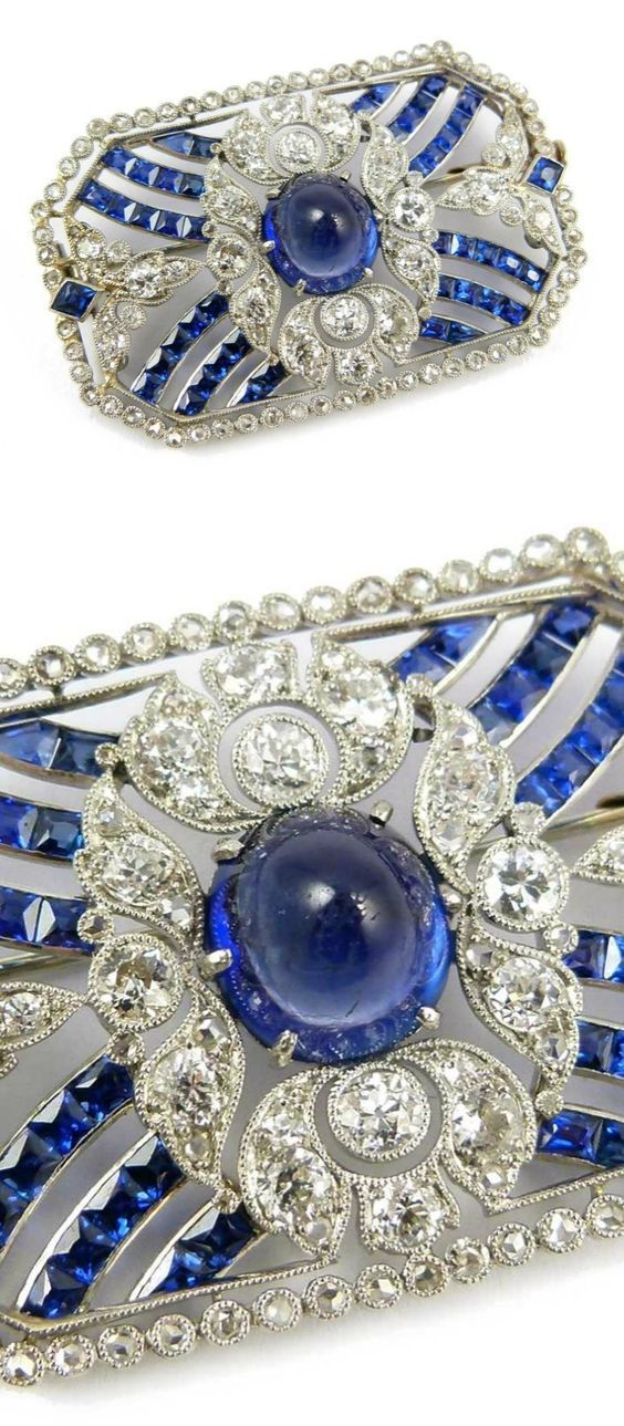 Belle Epoque Ceylon sapphire and diamond brooch with central cabochon sapphire…