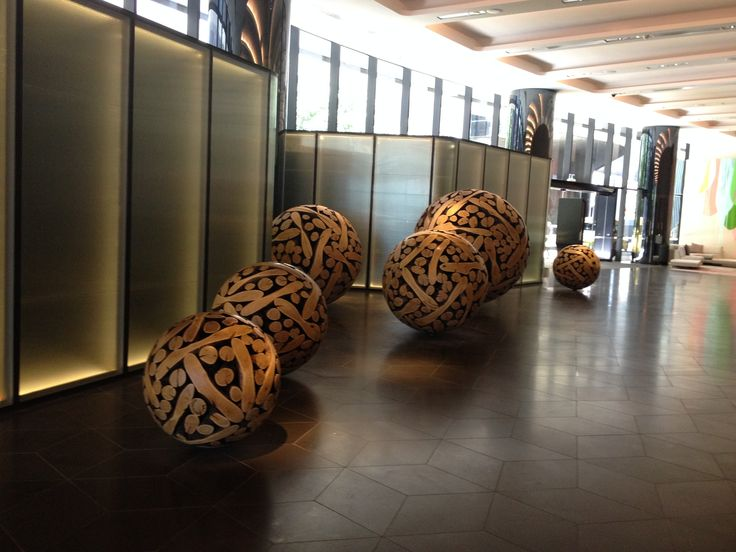 PHOTO 9: These timber balls in the foyer of the Crown Metropol Hotel look like scattered marbles. The colour, shape and composition is perfect.