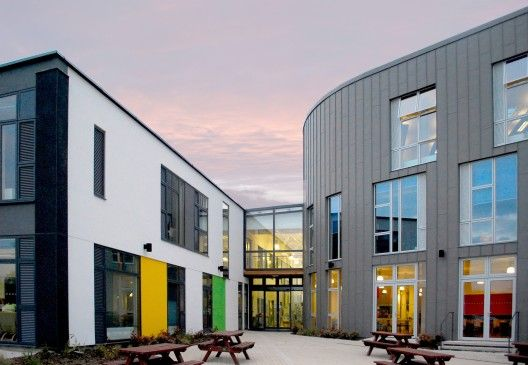 courtyard at a school in England. I think the scale of the two bldgs in the picture come close to apartments.