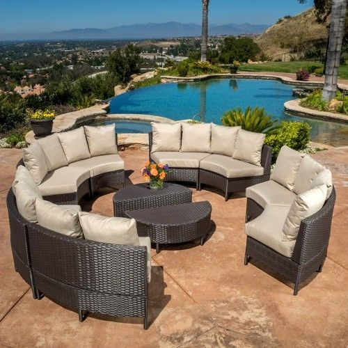 10pc Outdoor Patio Furniture Rattan Wicker Round Sectional Curved Sofa Set Table #OutdoorFurnitureset