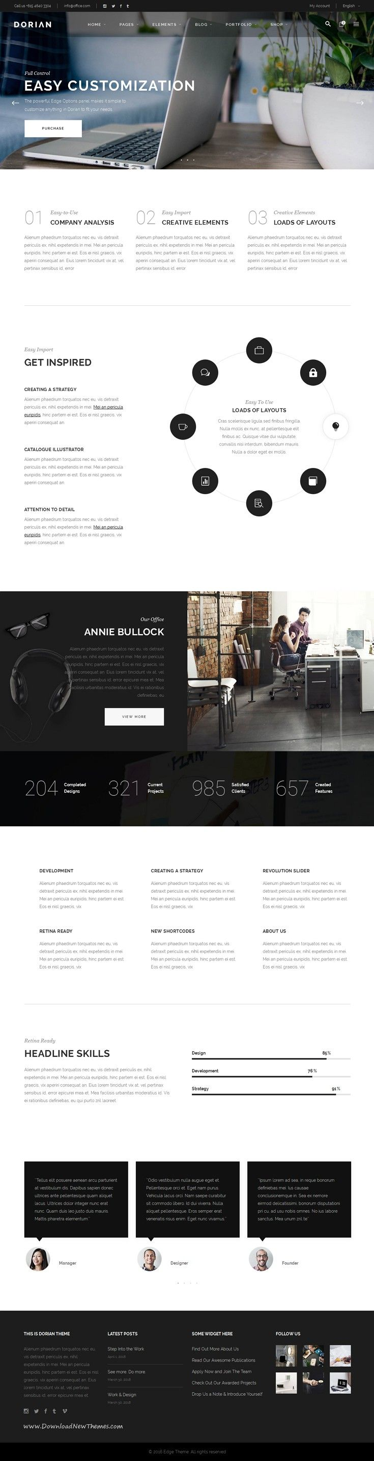 Dorian is Refined Multi-Concept #WordPress Theme come with 21 stunning homepage layouts and great features. #business #webdesign