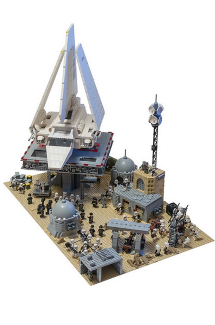Imperial Shuttle Oversees The Operation At LEGO Tatooine Base