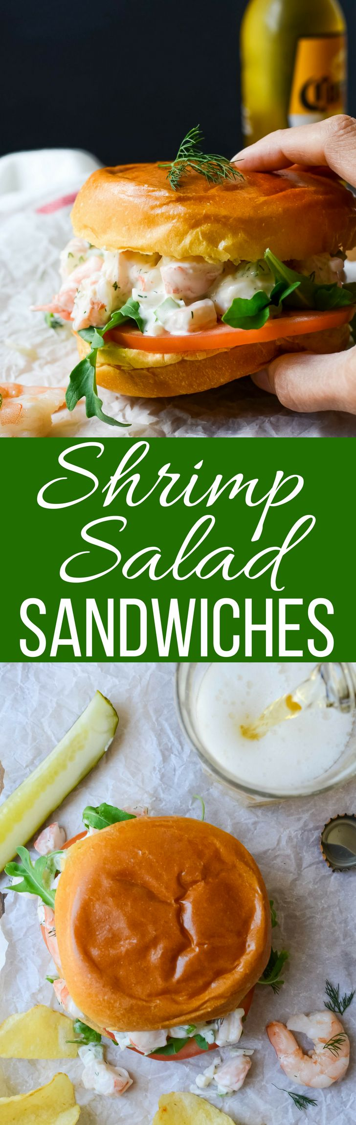 This easy shrimp salad sandwich recipe with dill, lemon and hot sauce is like summer on a bun!