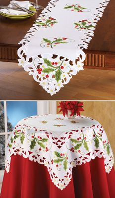 Holly Berry Christmas Table Topper Linens