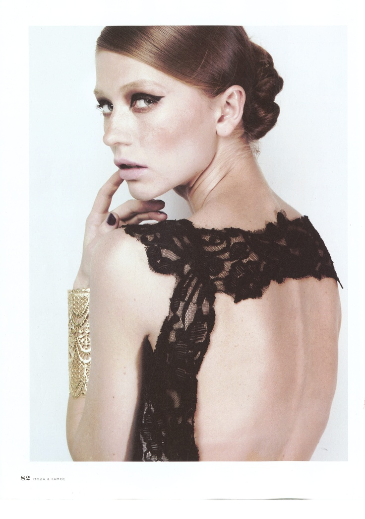 Elena Kougianou Gold-Plated Lace Cuff, Moda Editorial