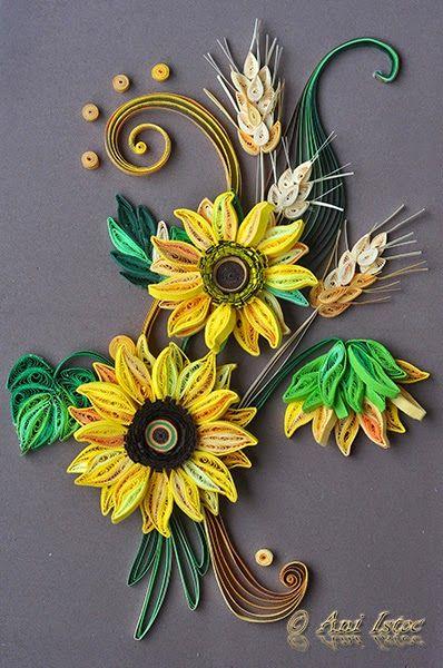 Printre hobby-uri: quilling, kusudama, origami, bijuterii handmade...: Quilling - Sun flowers (Floarea soarelui)