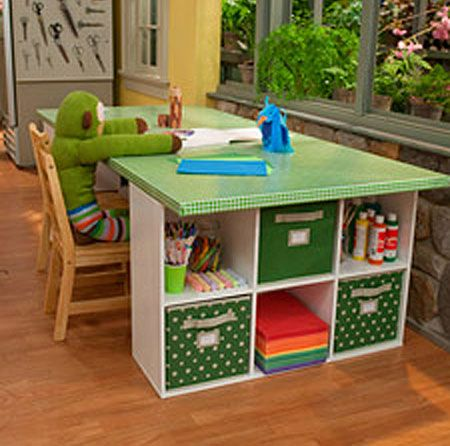 Craft Table: 5 Creative Ways to Make Your Own - Let's not forget about the little crafters in the family. This craft table is just their size. The top is a door covered in oilcloth, so it's completely user friendly. There's a great video for this tutorial, too! Children's Craft Table Tutorial