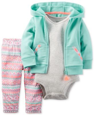 Lively prints pair with soft hues to create this cheerful three-piece casual set by Carter's, featuring a coordinated hoodie, bodysuit and printed leggings. | Cotton | Machine washable | Imported | Ho