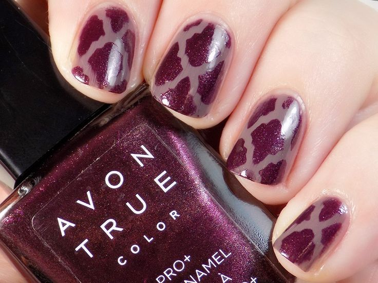 Check out blogger, Tea & Nail Polish's latest look using our Avon True Color Pro+ Nail Enamel in Smokey Plum and Night Violet