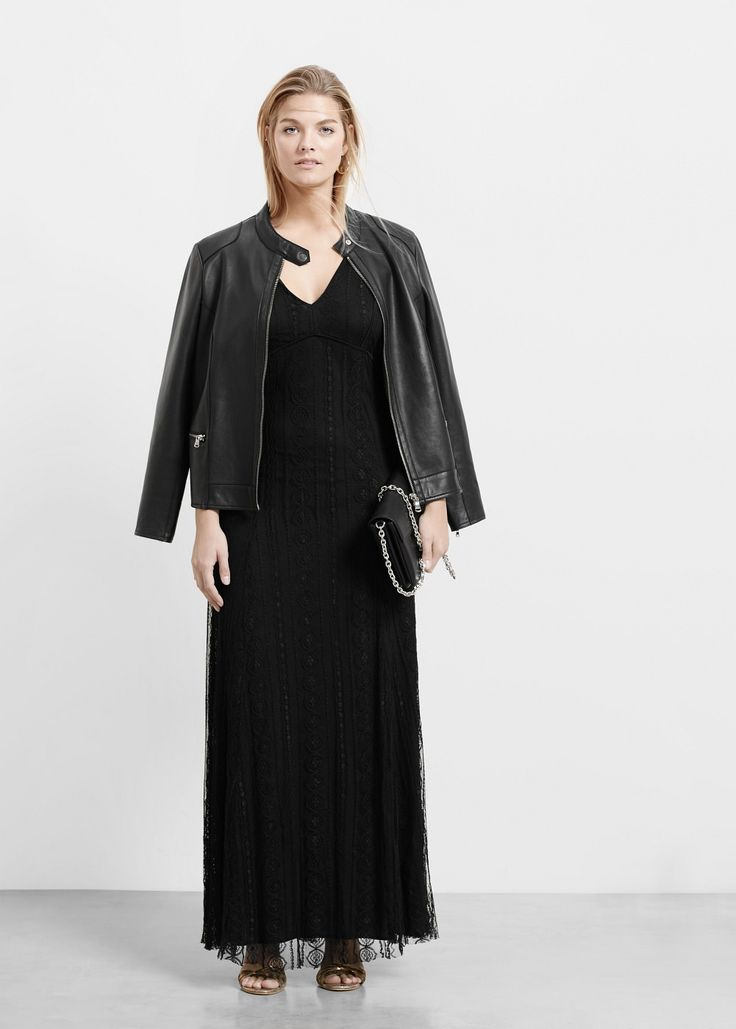 Długa sukienka z koronką - Sukienki Plus size | VIOLETA BY MANGO