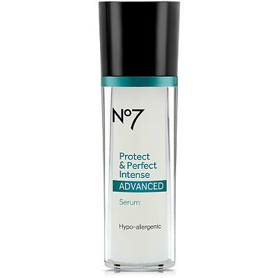 """BootsNo7 Protect & Perfect Intense Advanced Serum. Voted """"best anti aging serum"""" by Good Housekeeping Magazine. Has shining reviews on ultra.com, which I have grown to trust based on the large number of reviews left and the detail included in each review. Very affordable compared to other serums with similar quality of ingredients."""