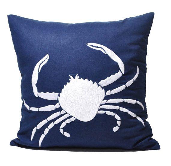 Beach Crab Pillow Cover, Navy Blue Linen White Crab, Decorative Throw Pillow, Pillow Case 18 x 18, Beach Couch Pillow, Blue Pillow on Etsy, $24.00