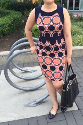 work outfits - orange and navy sheath dress, black tote, black flats