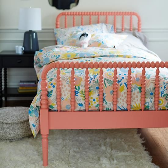 Shop Coral Jenny Lind Kids Bed.  Jenny Lind, known as the Swedish Nightingale, was an opera singer who performed in the 1800s.  She was so popular in her day, furniture styles and household items were named in her honor.
